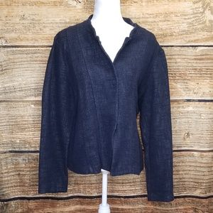 Eileen Fisher Cotton Linen Blue Snap Button Jacket